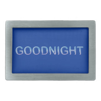 GOODNIGHT8 GOODNIGHT blue GOOD NIGHT SLEEPY COMMEN Rectangular Belt Buckle