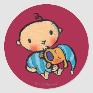 Goodnight Kisses Adorable Puppy in Blue Pajamas Classic Round Sticker