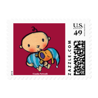 Goodnight Kisses Adorable Puppy in Blue Pajamas Postage Stamp