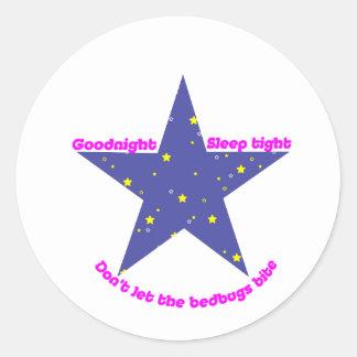 Goodnight Sleep Tight Bedbug Star Stickers