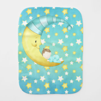 Goodnight Sleepy Time Nighttime Stars Moon Baby Burp Cloth