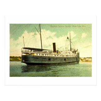 Goodrich Steamer Georgia, White Lake, Michigan Postcard
