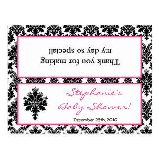 Goody Bag Topper Hot Pink Black Damask Post Cards
