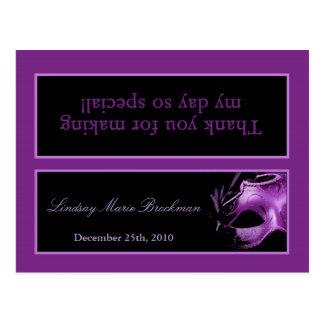 Goody Bag Topper Mis XV Purple Lilac Black Party Postcard