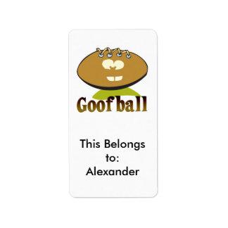 GOOFBALL funny football cartoon character Label