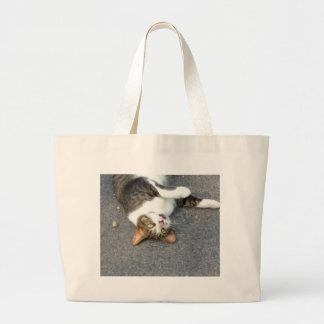 Goofball Upside Down Kitty Large Tote Bag
