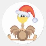 goofkins ostrich xmas santa round sticker