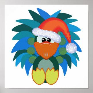 goofkins peacock xmas santa print