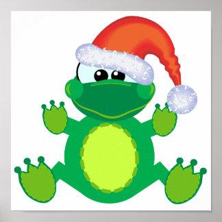 goofkins santa xmas frog poster