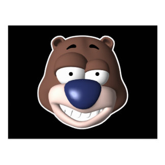 goofy bear face postcard