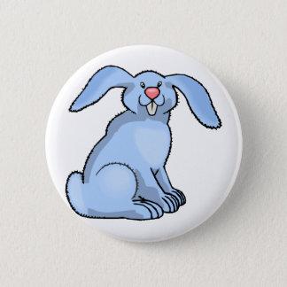 Goofy Blue Bunny Button