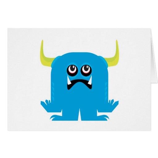 goofy blue monster greeting card