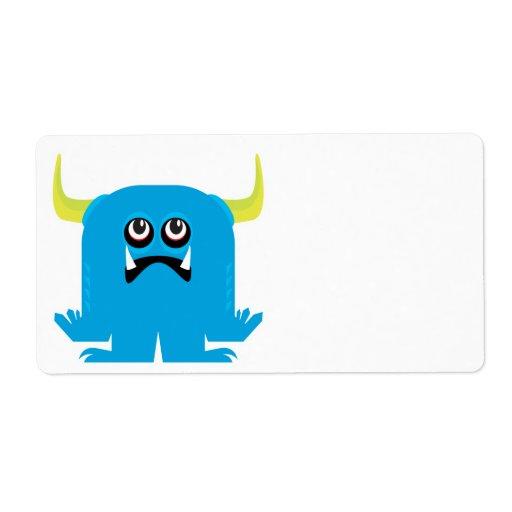 goofy blue monster shipping label