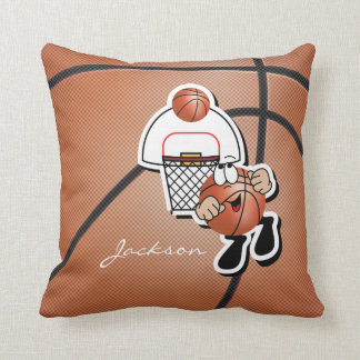 Goofy Brown Cartoon Basketball Guy Throw Pillow