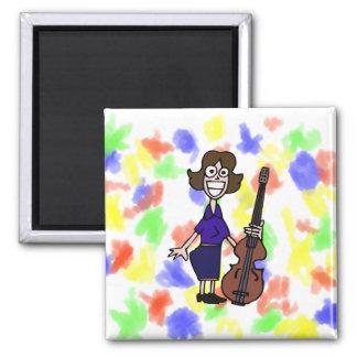 goofy cartoon female bass player blue magnet