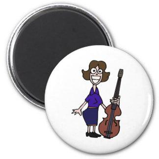 goofy cartoon female bass player blue fridge magnets