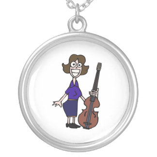goofy cartoon female bass player blue silver plated necklace