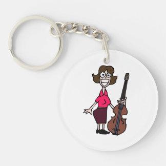 goofy cartoon female bass player keychain