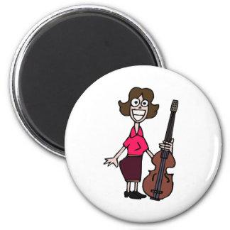 goofy cartoon female bass player fridge magnets