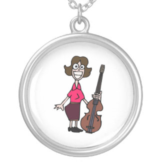 goofy cartoon female bass player silver plated necklace
