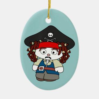 Goofy Cartoon Pirate Ceramic Ornament