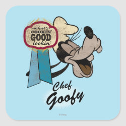Square Sticker with Chef Goofy: What's Cookin' Good Lookin' design