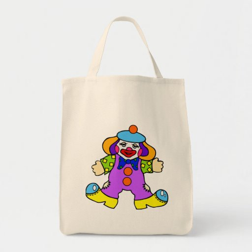 Goofy Clown Doll Grocery Tote Bag