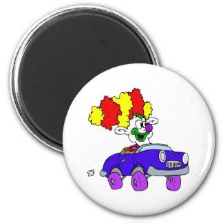 Goofy Clown in little car 2 Inch Round Magnet