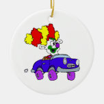 Goofy Clown in little car Christmas Tree Ornament