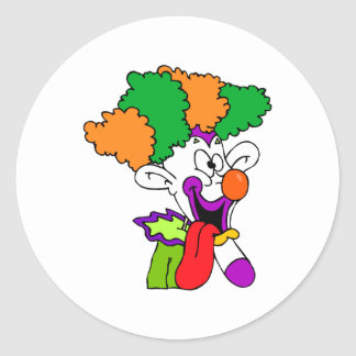 Goofy clown tongue out round sticker