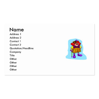 Goofy clown with cane & golf hat business card