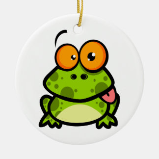 goofy cute frog sticking out tongue Double-Sided ceramic round christmas ornament