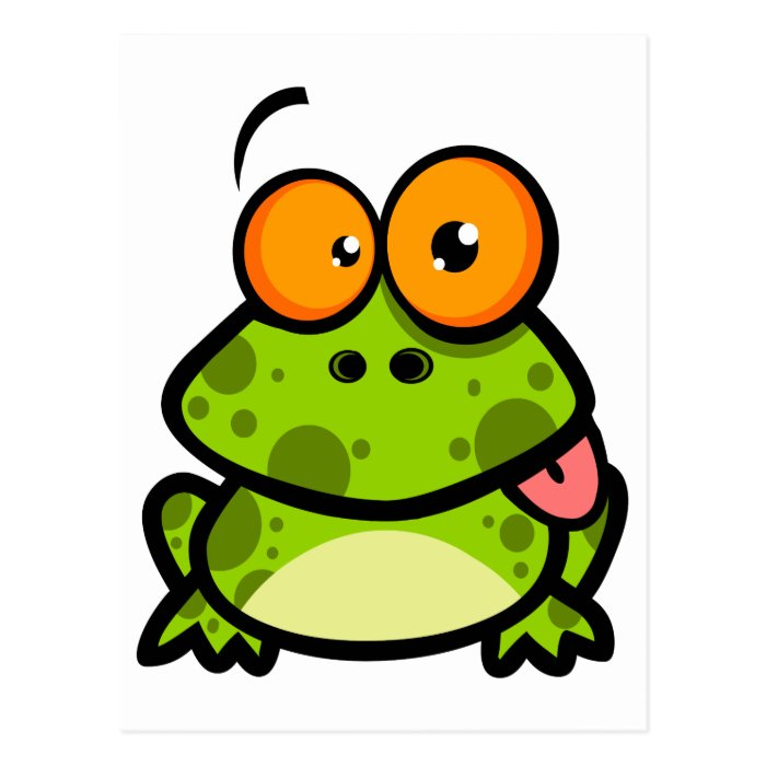 goofy cute frog sticking out tongue postcard