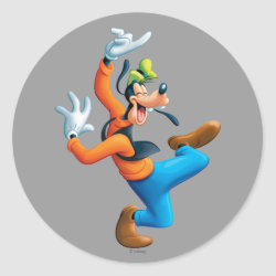 Round Sticker with Funny Dancing Goofy design