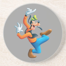 Sandstone Drink Coaster with Funny Dancing Goofy design