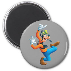 Round Magnet with Funny Dancing Goofy design