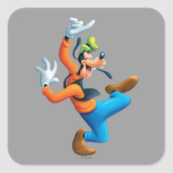 Square Sticker with Funny Dancing Goofy design