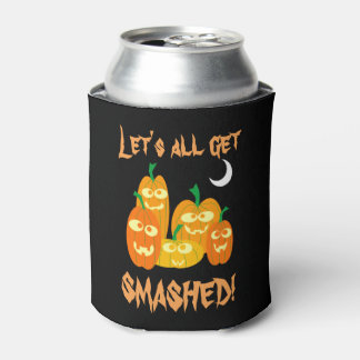 Goofy Drunk Halloween Pumpkins All Get Smashed Can Cooler