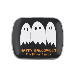 Goofy eyes floating white ghosts Halloween favor Jelly Belly Tins