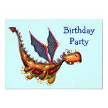 Goofy Flying Dragon Birthday Party 5x7 Paper Invitation Card