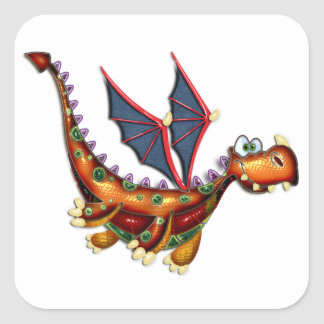 Goofy Flying Dragon Square Stickers