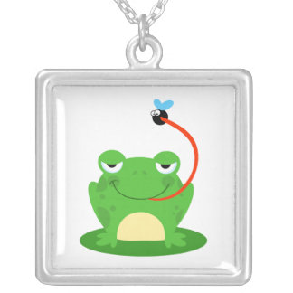 goofy frog catching a fly cartoon personalized necklace