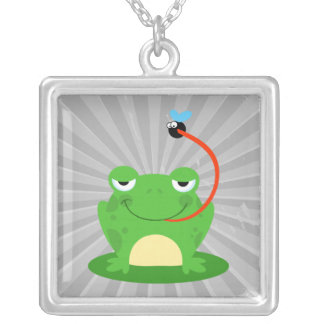 goofy frog catching a fly cartoon necklace