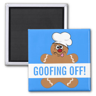 Goofy Gingerbread Man Cookie 2 Inch Square Magnet
