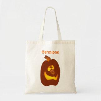 Goofy Glowing Halloween Jack-o-Lantern Pumpkin Budget Tote Bag