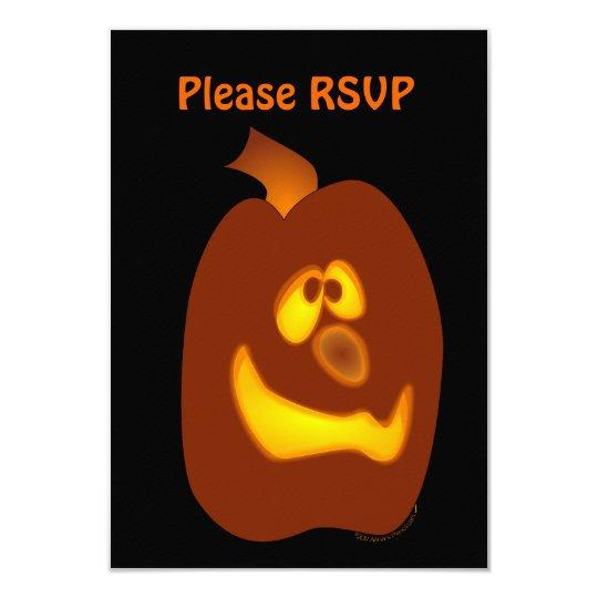 Goofy Glowing Halloween Jack-o-Lantern Pumpkin Card