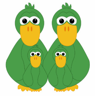 Goofy Green Ducks And 2 Babies Statuette