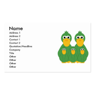 Goofy Green Ducks And 3 Babies Business Card Templates