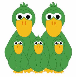 Goofy Green Ducks And 3 Babies Statuette