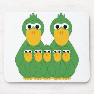 Goofy Green Ducks And 5 Babies Mousepads
